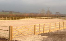 Looking into newly finished riding arena
