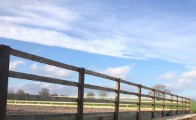 Post and rail fencing below blue sky