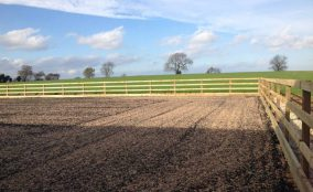 Post and rail fenced riding arena