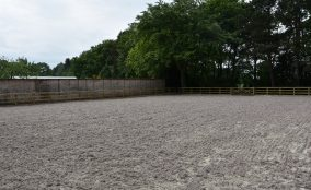 Sand Fibre Equestrian Riding Arena Located In North Yorkshire With Post & Raill Fence Surrounded By wall and trees