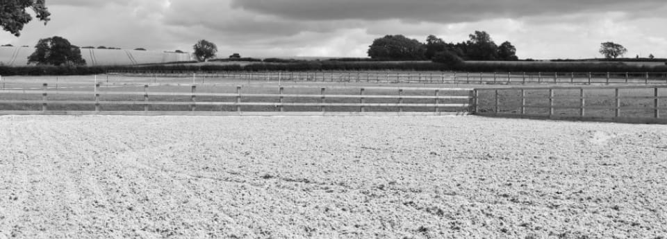 Shot of equestrian arena with sand surface and timber post & rail fenicng