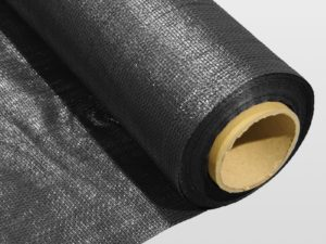 Roll of black non-woven geotextile membrane